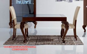 set meja makan minimalis kayu jati luxury furniture km-539
