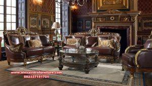 set sofa kursi tamu mewah jati klasik cocoa kt-556