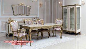 set meja dan 6 kursi makan model klasik gold km-562
