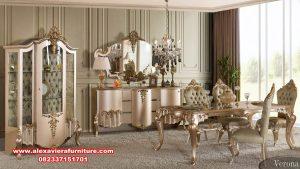 set meja makan verona mewah klasik gold terbaru km-561