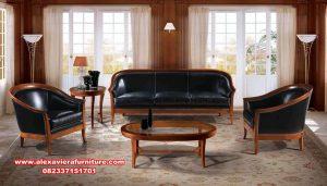 Set kursi tamu jati black oscar leather Kt-579