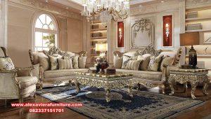 1 set sofa ruang tamu eropa model klasik ukiran kt-580