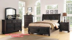 Set tempat tidur kayu jati minimalis mewah salmonela Skt-350