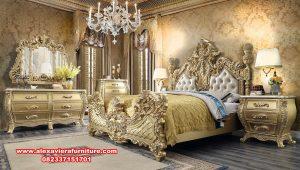 Bedroom set eropa mewah klasik ukiran gold leaf duco Skt-355