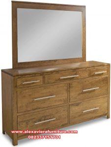 Set meja rias natural teak wood minimalis laci Mr-250